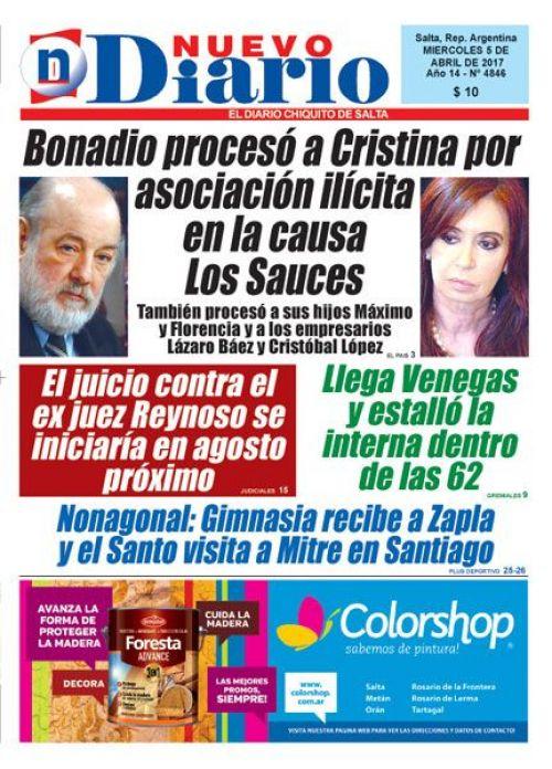 Tapa del 05/04/2017 Nuevo Diario de Salta