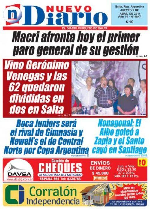 Tapa del 06/04/2017 Nuevo Diario de Salta