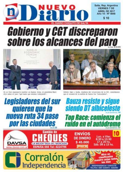 Tapa del 07/04/2017 Nuevo Diario de Salta