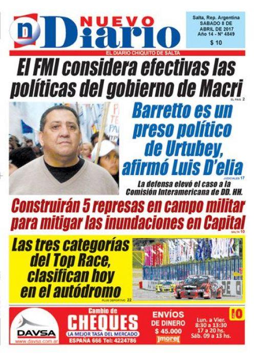 Tapa del 08/04/2017 Nuevo Diario de Salta