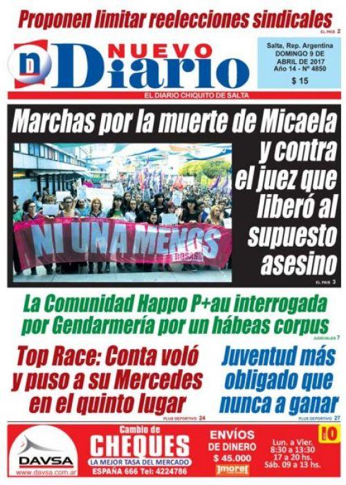 Tapa del 09/04/2017 Nuevo Diario de Salta