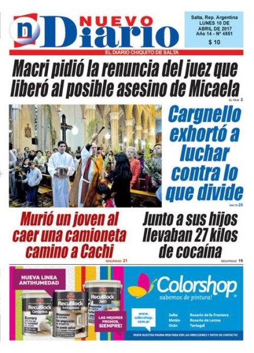Tapa del 10/04/2017 Nuevo Diario de Salta