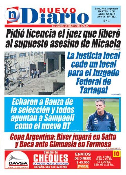 Tapa del 11/04/2017 Nuevo Diario de Salta