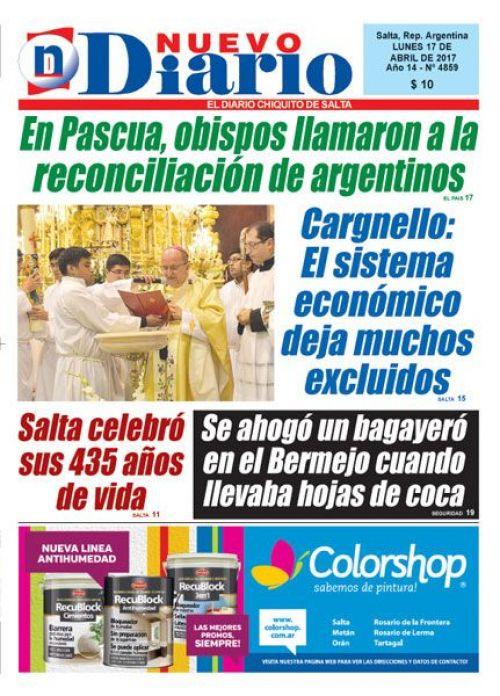 Tapa del 17/04/2017 Nuevo Diario de Salta