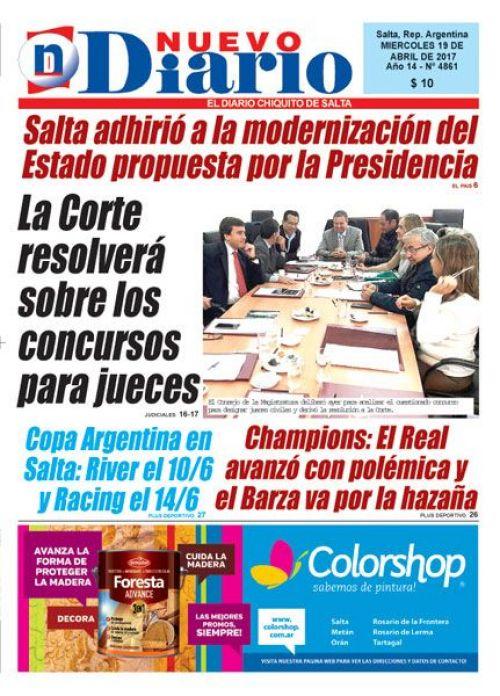 Tapa del 19/04/2017 Nuevo Diario de Salta