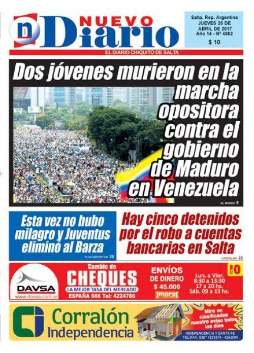 Tapa del 20/04/2017 Nuevo Diario de Salta
