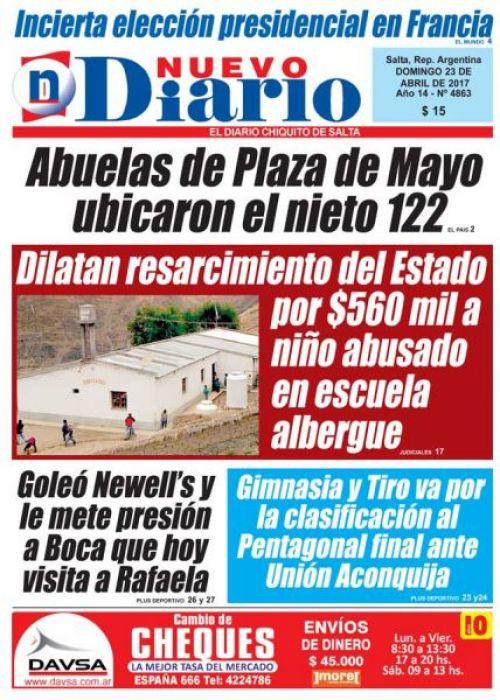 Tapa del 23/04/2017 Nuevo Diario de Salta