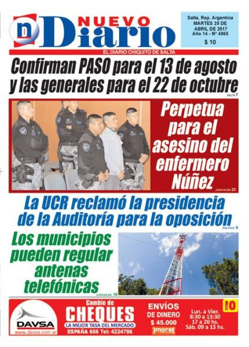 Tapa del 25/04/2017 Nuevo Diario de Salta