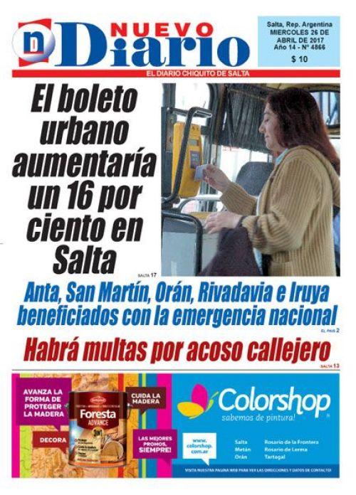Tapa del 26/04/2017 Nuevo Diario de Salta