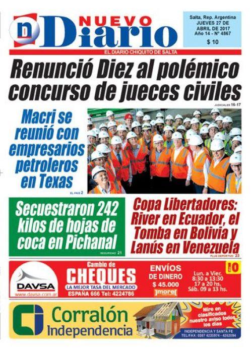 Tapa del 27/04/2017 Nuevo Diario de Salta