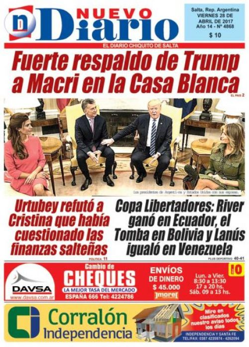Tapa del 28/04/2017 Nuevo Diario de Salta