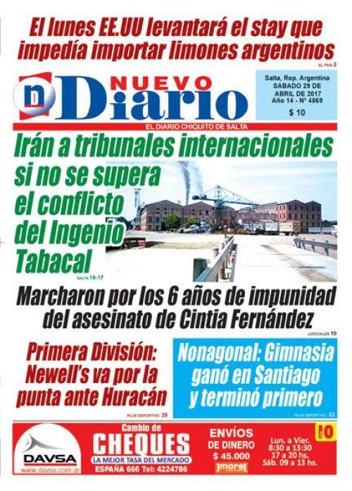 Tapa del 29/04/2017 Nuevo Diario de Salta
