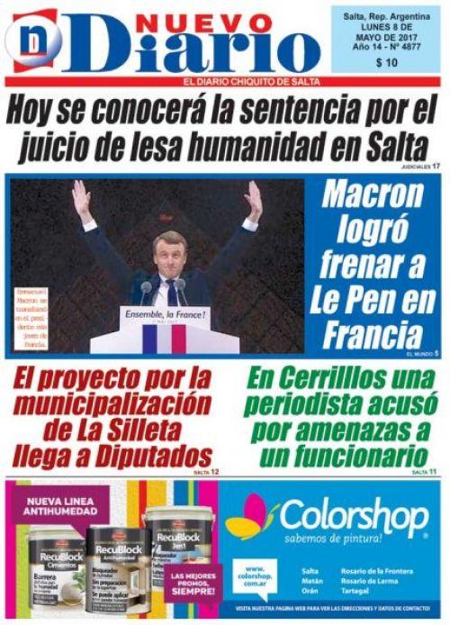 Tapa del 08/05/2017 Nuevo Diario de Salta