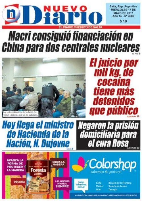 Tapa del 17/05/2017 Nuevo Diario de Salta