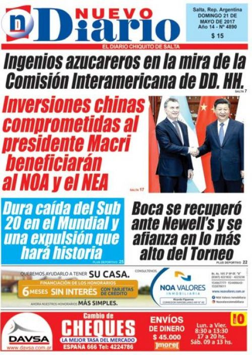 Tapa del 21/05/2017 Nuevo Diario de Salta