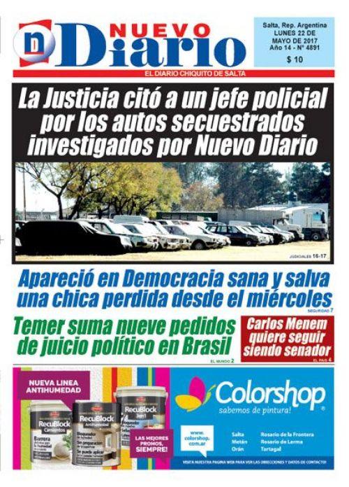 Tapa del 22/05/2017 Nuevo Diario de Salta