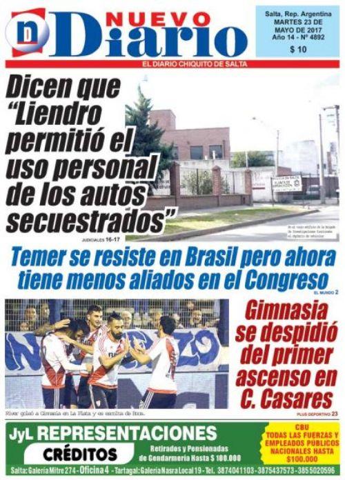 Tapa del 23/05/2017 Nuevo Diario de Salta