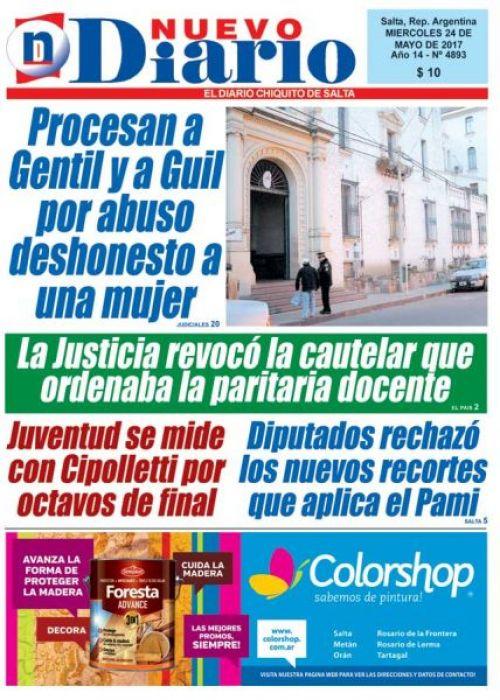 Tapa del 24/05/2017 Nuevo Diario de Salta