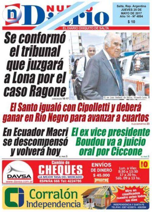 Tapa del 25/05/2017 Nuevo Diario de Salta