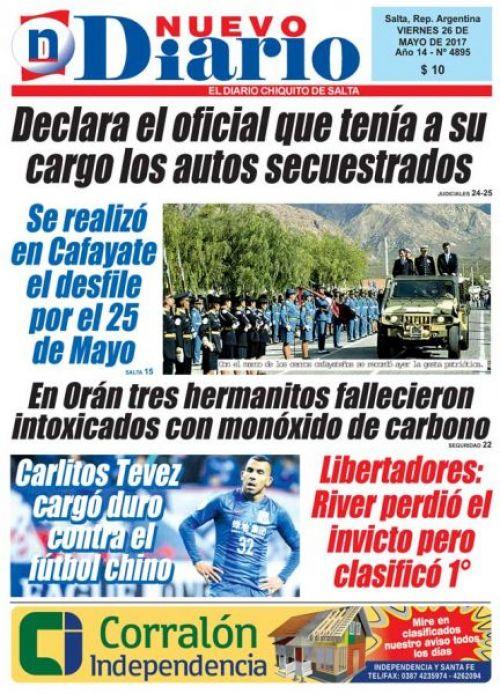 Tapa del 26/05/2017 Nuevo Diario de Salta