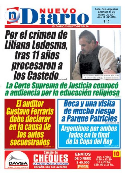 Tapa del 27/05/2017 Nuevo Diario de Salta