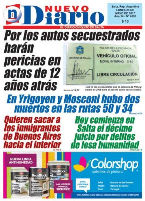 Tapa del 29/05/2017 Nuevo Diario de Salta