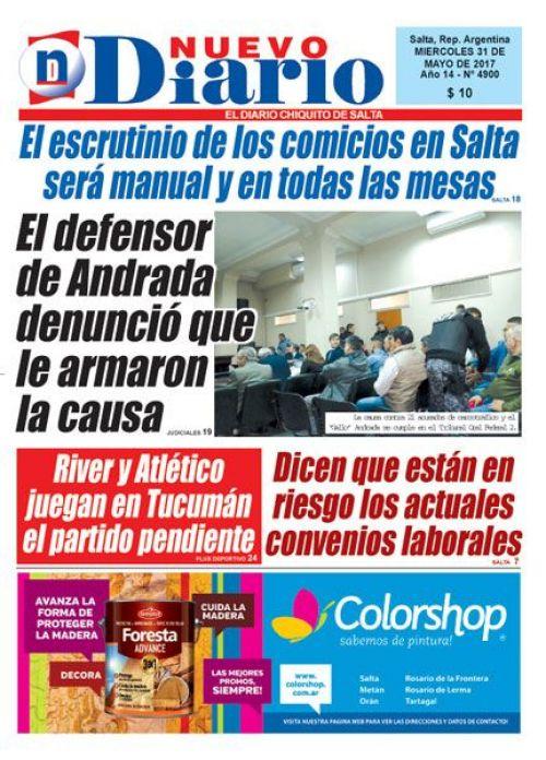 Tapa del 31/05/2017 Nuevo Diario de Salta