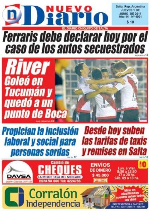 Tapa del 01/06/2017 Nuevo Diario de Salta