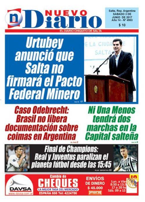 Tapa del 03/06/2017 Nuevo Diario de Salta