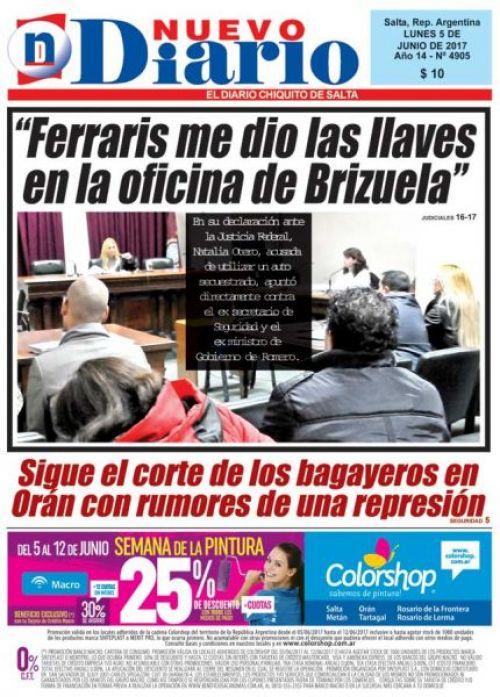 Tapa del 05/06/2017 Nuevo Diario de Salta
