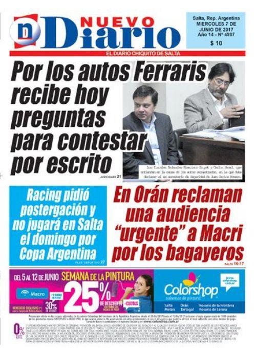 Tapa del 07/06/2017 Nuevo Diario de Salta