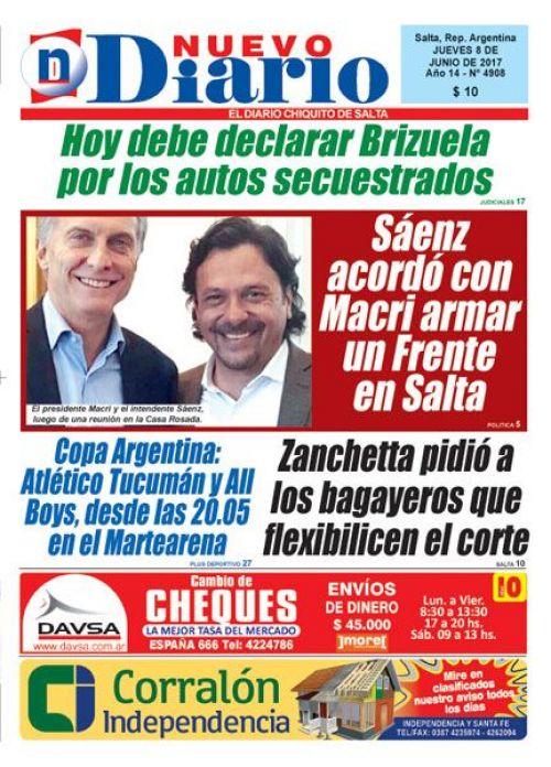 Tapa del 08/06/2017 Nuevo Diario de Salta