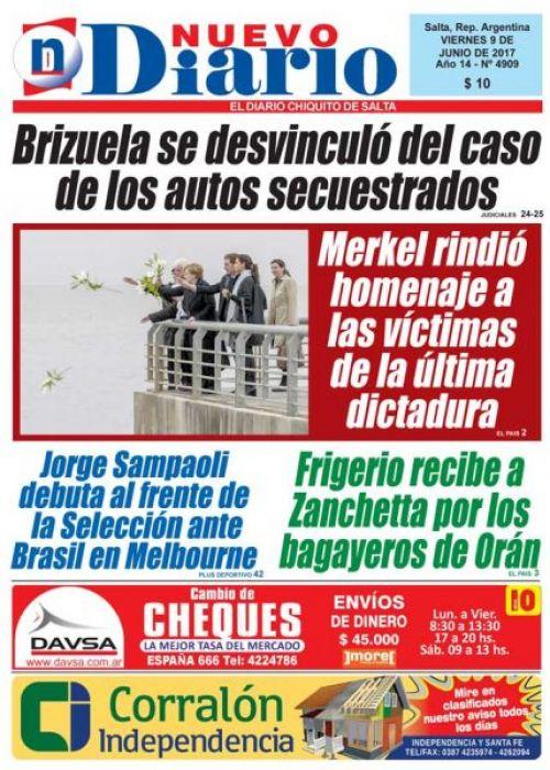 Tapa del 09/06/2017 Nuevo Diario de Salta
