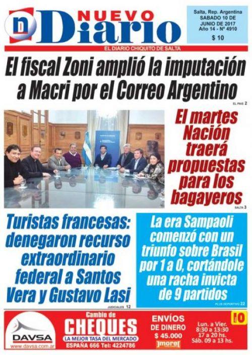 Tapa del 10/06/2017 Nuevo Diario de Salta