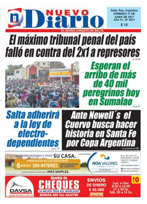Tapa del 11/06/2017 Nuevo Diario de Salta