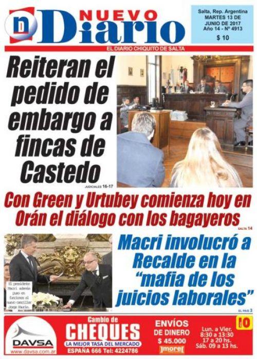 Tapa del 13/06/2017 Nuevo Diario de Salta