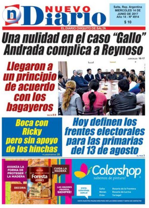 Tapa del 14/06/2017 Nuevo Diario de Salta