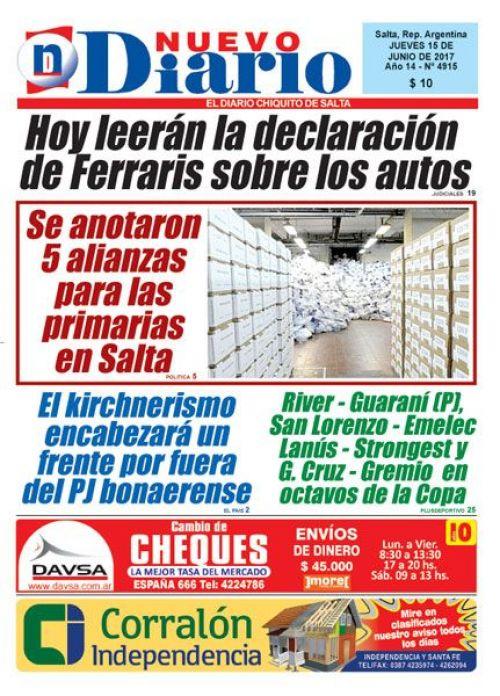 Tapa del 15/06/2017 Nuevo Diario de Salta