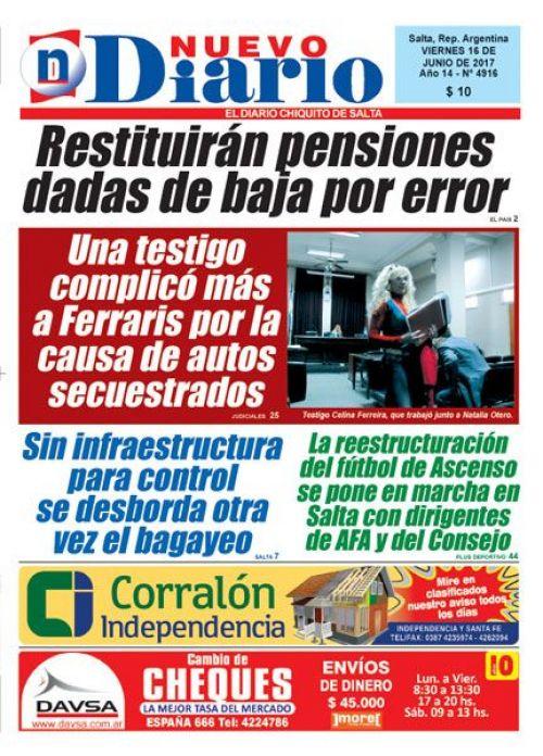 Tapa del 16/06/2017 Nuevo Diario de Salta