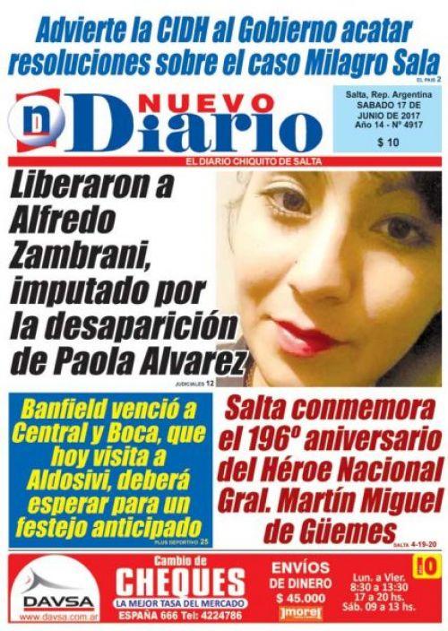 Tapa del 17/06/2017 Nuevo Diario de Salta