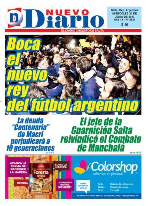 Tapa del 21/06/2017 Nuevo Diario de Salta