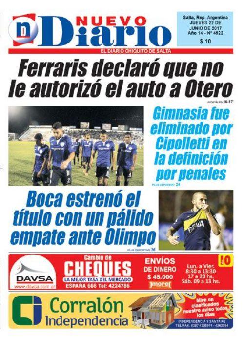 Tapa del 22/06/2017 Nuevo Diario de Salta