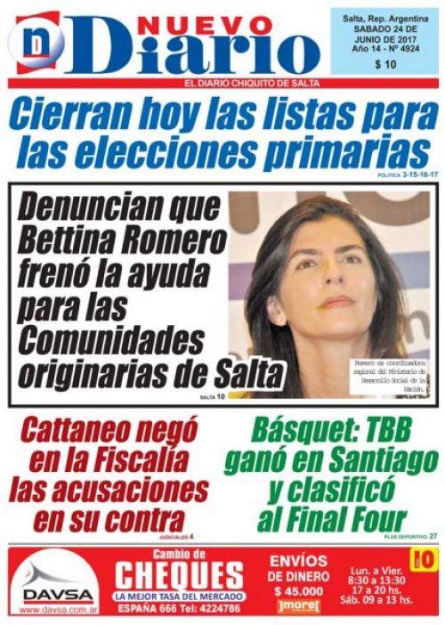 Tapa del 24/06/2017 Nuevo Diario de Salta