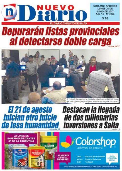 Tapa del 26/06/2017 Nuevo Diario de Salta
