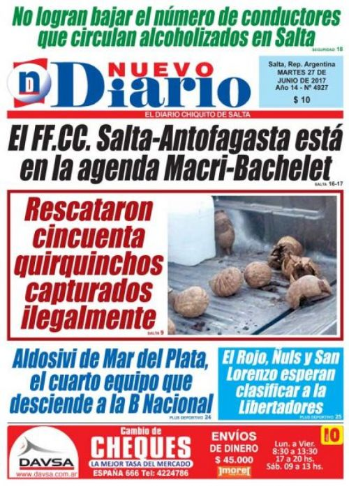 Tapa del 27/06/2017 Nuevo Diario de Salta