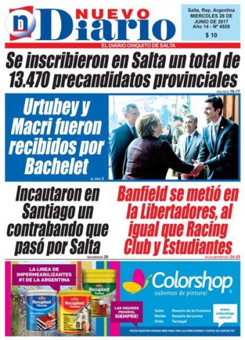 Tapa del 28/06/2017 Nuevo Diario de Salta