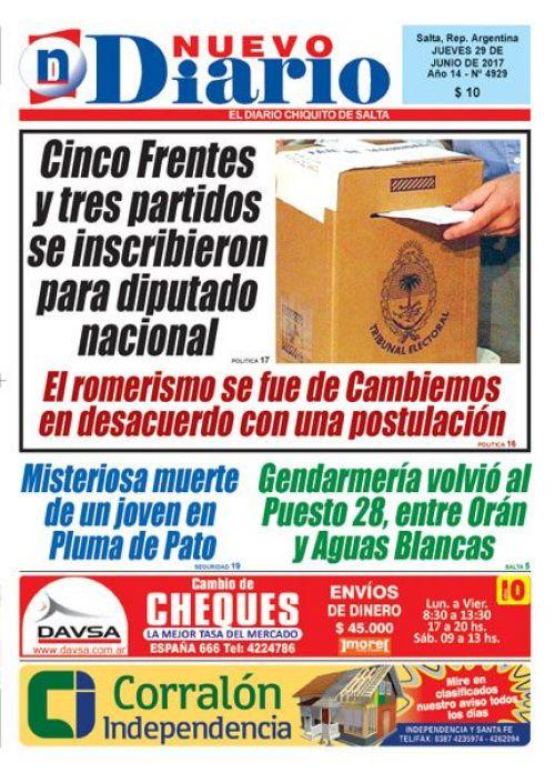 Tapa del 29/06/2017 Nuevo Diario de Salta