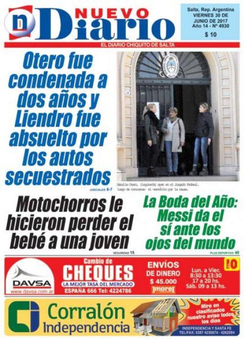 Tapa del 30/06/2017 Nuevo Diario de Salta