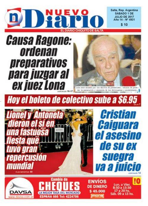 Tapa del 01/07/2017 Nuevo Diario de Salta