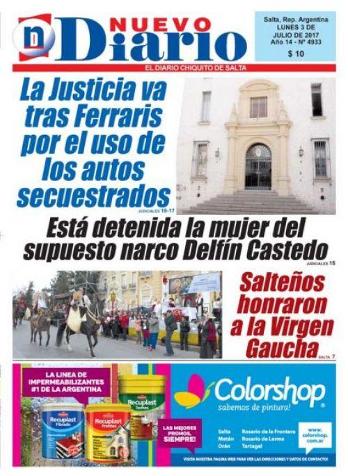 Tapa del 03/07/2017 Nuevo Diario de Salta
